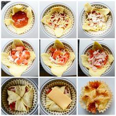 Heel gemakkelijk pizza muffins maken! Lekker voor als hapje bij de borrel! Savory Cupcakes, Pizza Cupcakes, Pizza Muffins, Mini Pizzas, Snacks Für Party, Appetisers, Food Humor, High Tea, Tapas