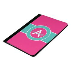 Hot Pink Teal Monogram Personalized Padfolio