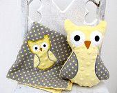 Yellow Gray Polka Dot Owl Gift Set $25.00
