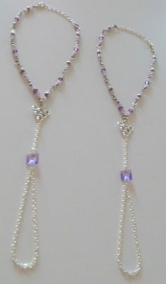 Pair of 2 Purple Crystal Beaded Anklets Barefoot Sandals Foot Jewelry Foot Thong #Handmade $15.99 for 2