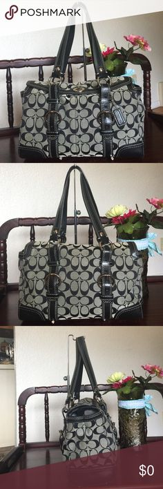 """COACH SIGNATURE CHELSEA SATCHEL COACH SIGNATURE CHELSEA SATCHEL,color:black/white STYLE NO: 10986 , SIGNATURE JACQUARD  POLISHED NICKEL (SILVER) HARDWARE 100% AUTHENTIC!! RETAILS FOR $378 Details: Inside zip pocket Cellphone/multifunction pockets Ring to clip an accessory or keyfob Turnlock closure Fabric lining 15"""" adjustable straps Measures approx. 13""""x7-1/2""""x4-1/2""""  used with srcatches on the hardware,still in great conditon Coach Bags Shoulder Bags"""