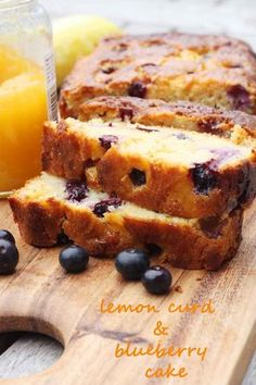 Sticky blueberry lemon curd cake, curd & blueberry cake by Scrummy Lane. Baking Tins, Baking Recipes, Cake Recipes, Dessert Recipes, Baking Cakes, Cupcakes, Cupcake Cakes, Lemond Curd, Lemon Curd Cake