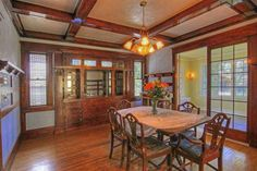 Incredible European Birch woodwork. Beautiful leaded glass windows and cabinetry and lots of original period lighting. Has a newly remodeled kitchen with granite counters, new back splash, stainless appliances and new flooring. $339K Spokane, WA. Craftsman Dining Room, Prairie Style Houses, Craftsman Style Homes, Old House Dreams, Historic Homes, Victorian Homes, Home Furnishings, Home And Family, House Design