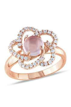Pink Quartz & CZ Flower Ring
