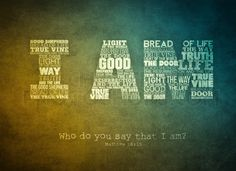 """Matthew - All of the """"I AM"""" sayings of Christ in a word art. Christian Artwork, Christian Images, Christian Quotes, Christian Shirts, Book Of Matthew, Matthew 16, Faith Quotes, Bible Quotes, Devotional Quotes"""