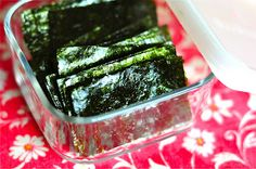 The Whole Life Nutrition Kitchen: Homemade Seaweed Snacks - great source of iodine and very addictive.  I used olive oil instead.