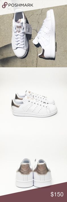 Adidas Women Leather Rose Gold Stan Smith Sneakers NO TRADES  Perforated stripes detail the sides of an iconic tennis shoe with a luxurious white leather upper + rose gold overlay at the heel for the superstar look  Details - Leather, synthetic  - Wipe clean - Imported - Runs 1/4-1/2 size large   NOTES: - All photos photographed by me. Item's color may slightly vary from photos. - Box was moderately damaged during transit ‼️PRICED UPON RARITY; If you leave a rude comment about the price, you…