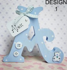 Freestanding Personalised Wooden Letters Handmade Personalised Gift Names in Home Furniture DIY Home Decor Plaques Signs Diy Letters, Letter A Crafts, Painted Letters, Decorated Letters, Decorative Wooden Letters, Wooden Monogram Letters, Diy Nursery Decor, Baby Nursery Diy, Baby Decor