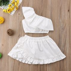 Solid White Off Shoulder Top W/ Matching Ruffle Skirt – Tins&Co Girls Frock Design, Kids Frocks Design, Baby Dress Design, Frocks For Girls, Little Girl Dresses, Baby Dresses, Dress Girl, Girls Fashion Clothes, Kids Fashion
