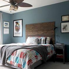 Ari's Room: All Finished! Rustic-Industrial Tween Room - paint color is Martha Stewart's Kerry Blue Terrier Teen Boy Rooms, Teen Boy Bedding, Teen Boys, Home Bedroom, Girls Bedroom, Bedroom Decor, Bedroom Ideas, Bedroom Colors, Lofts