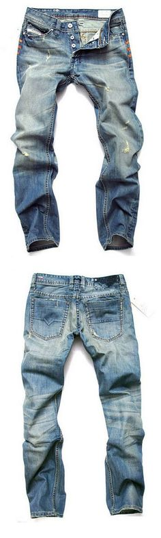 Men's Mid Rise Jeans Simple Straight Loose Solid Pants