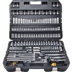 Tools Q & A: Who Makes the Best Socket Sets? Which socket set can you afford, which is the best, what's not make in China? Find a great socket set that fits. Hand Tool Kit, Tool Set, Home Tools, Diy Tools, Grid Tool, Dewalt Tools, Dewalt Tool Box, Mechanic Tools, Tools Hardware