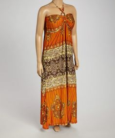 Look what I found on #zulily! Rust Arabesque Halter Maxi Dress - Plus #zulilyfinds