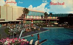 The Stardust Hotel & Casino Swimming Pool with Diving Board ~ vintage Las Vegas Postcard.