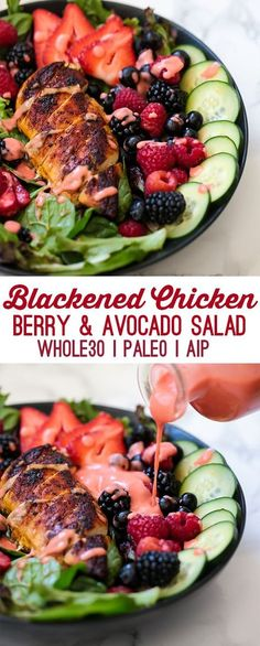 Blackened Chicken Avocado Berry Salad (Paleo, AIP) - Unbound Wellness www. Paleo Salad Recipes, Mexican Food Recipes, Healthy Recipes, Vegetarian Recipes, Paleo Food, Paleo Meals, Freezer Paleo, Paleo Chicken Salad, Lunch Recipes