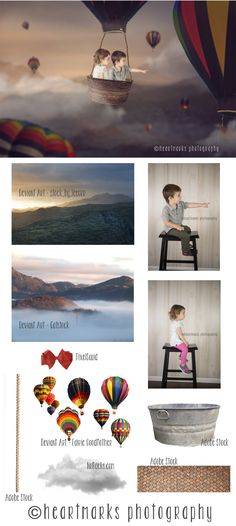 Up, Up and Away! Second Birthday Photoshop Composite Before and After | HeartMarks Photography