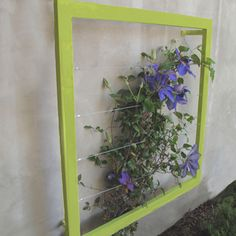 The rich purple of this INA Wall Trellis from Terra Trellis makes a gorgeous display with this clematis. An old picture frame, mirror frame or window frame could be used the same way. Wall Trellis, Arbors Trellis, Garden Trellis, Trellis Ideas, Diy Trellis, Clematis Trellis, Metal Trellis, Trellis Design, Contemporary Outdoor Decor