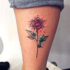 Watercolor little rose tattoo. Girl tattoo. by Ana Maturana