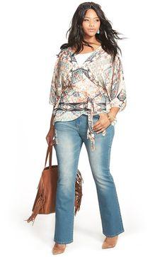 City Chic 'Soft Grind' Distressed Stretch Bootcut Jeans (Light Denim) (Plus Size) Plus Size Fashion For Women, Plus Size Women, Curvy Fashion, Plus Fashion, Womens Fashion, Petite Fashion, Modest Fashion, Style Fashion, Plus Size Dresses