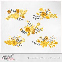 Flower digital clipart Yellow and grey   Wedding by BlackCatsMedia, $2.00