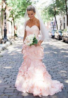 pink strapless fuffles mermaid wedding dress via Tim Ryan Smith Photography - Deer Pearl Flowers / http://www.deerpearlflowers.com/wedding-dress-inspiration/pink-strapless-fuffles-mermaid-wedding-dress-via-tim-ryan-smith-photography/