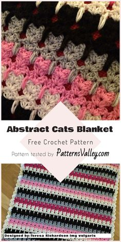 Abstract Cats Blanket - Free Crochet Pattern #crochet #catblanket #crochetpattern