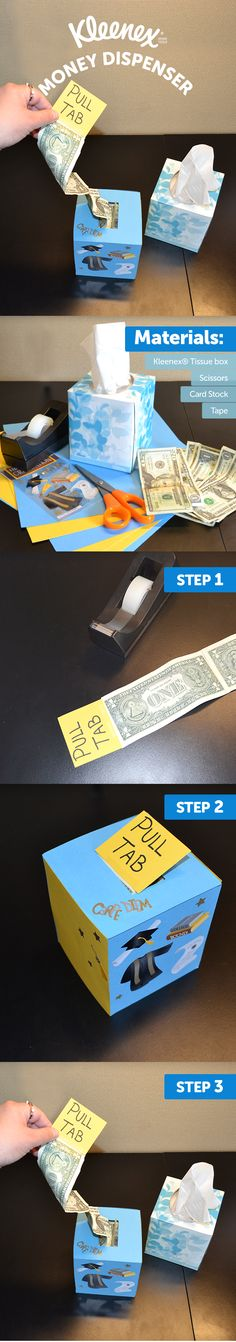 Graduation Gifts Your graduate will love the care that this Kleenex® tissue box has inside. Here's how to create your own Kleenex® money dispenser. Birthday Money, Birthday Diy, Birthday Gifts, Tissue Box Crafts, Tissue Boxes, Homemade Gifts, Diy Gifts, Unique Gifts, Creative Money Gifts