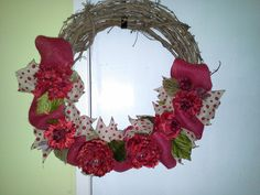 burlap wreath/red burlap ribbon MADE BY LW