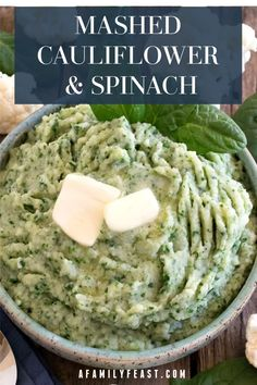 This Mashed Cauliflower and Spinach recipe from A Family Feast is an easy and tasty way to eat your veggies! This flavorful, healthy side dish is delicious! Healthy Side Dishes, Vegetable Dishes, Easy Healthy Recipes, Vegetable Recipes, Vegetarian Recipes, Cooking Recipes, Healthy Spinach Recipes, Paleo Cauliflower Recipes, Mashed Cauliflower