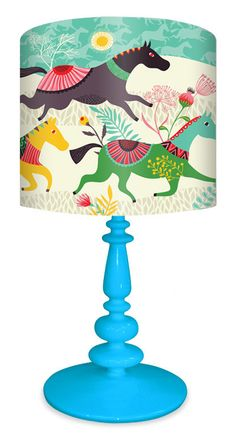"Wild Horses 21"" H Table Lamp with Drum Shade"