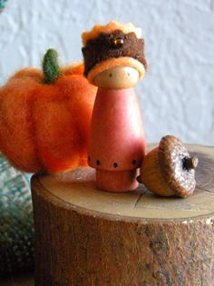 Autumn Birthday Ring Doll, Holiday Ring Decor, Prince, Orange, Brown, Small Wooden Peg Doll, Autumn Fall Nature Table, wood burned