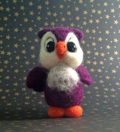 Felted Owl in Eggplant Purple by MelaniesMenagerie on Etsy #Halloween #owl