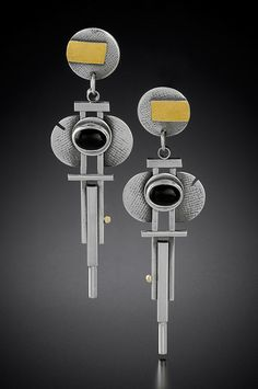 Hanging Art Deco Earrings: Michele LeVett: Gold, Silver & Stone Earrings | Artful Home