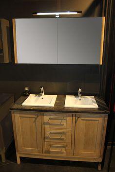 Badkamermeubel Joacquin eik dubbel - Meer modellen in onze showroom in Ninove http://www.zelfbouwmarkt.be/assortiment/badkamers/badkamermeubels/1001