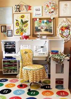 Bright and eclectic craft room filled with little inspirations. This sewing desk is incredible!