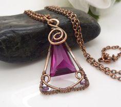 Solid copper jewelry hot pink quartz by CreativityJewellery