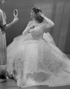1950s ball gown wedding dress. Wow so pretty and modest.