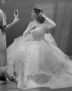 50s bride! #ball gown, wedding dress, vintage wedding dress, long sleeve wedding dress
