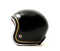 Carbon Black Motorcycle Helmet. Would rather have a red line instead of a yellow or a full black one.