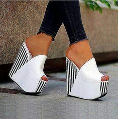 Only 3 Days Left Shoespie White Platform Slip-On Peep Toe Wedge Heels Peep Toe Wedges, Wedge Sandals, Pearl Sandals, Shoes Sandals, Shoes Sneakers, Yeezy Shoes, Mode Shoes, Slipper Sandals, Girls Shoes