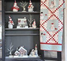 red and aqua snowman quilt