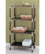 4-Tier Wood and Chrome Shelving Unit