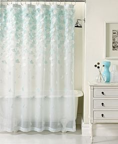 Too dainty for our look? So cool though! Martha Stewart Collection Falling Petals Shower Curtain