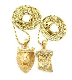 KING LION & JESUS PENDANT & BOX CHAIN NECKLACE SET