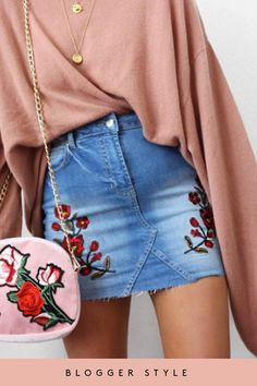 Evita Denim Floral Embroidered Mini Skirt