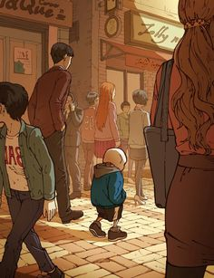 *gasps* Sans. Why is he alone? Why is my baby walking on streets crammed with humans alone!? Hold up Sans!!! Lemme walk with you... I don't like the looks of these humans.