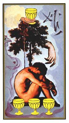 Four of Cups - Dali Universal Tarot by Rachel Pollack , Juan Llarch, Salvador Dali