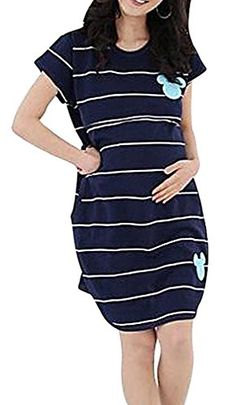 24183b45d4167 MTRNTY Womens Maternity Nursing Blue White Stripe Comfortable Long Loose  Dress ** You can find