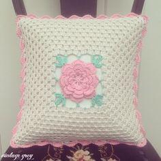 @ vintage grey: a pretty vintage rose cushion