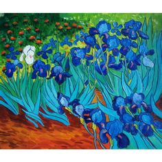 Vincent Van Gogh Oil Painting #106: The Irises Abstract Flowers ❤ liked on Polyvore featuring backgrounds and pictures